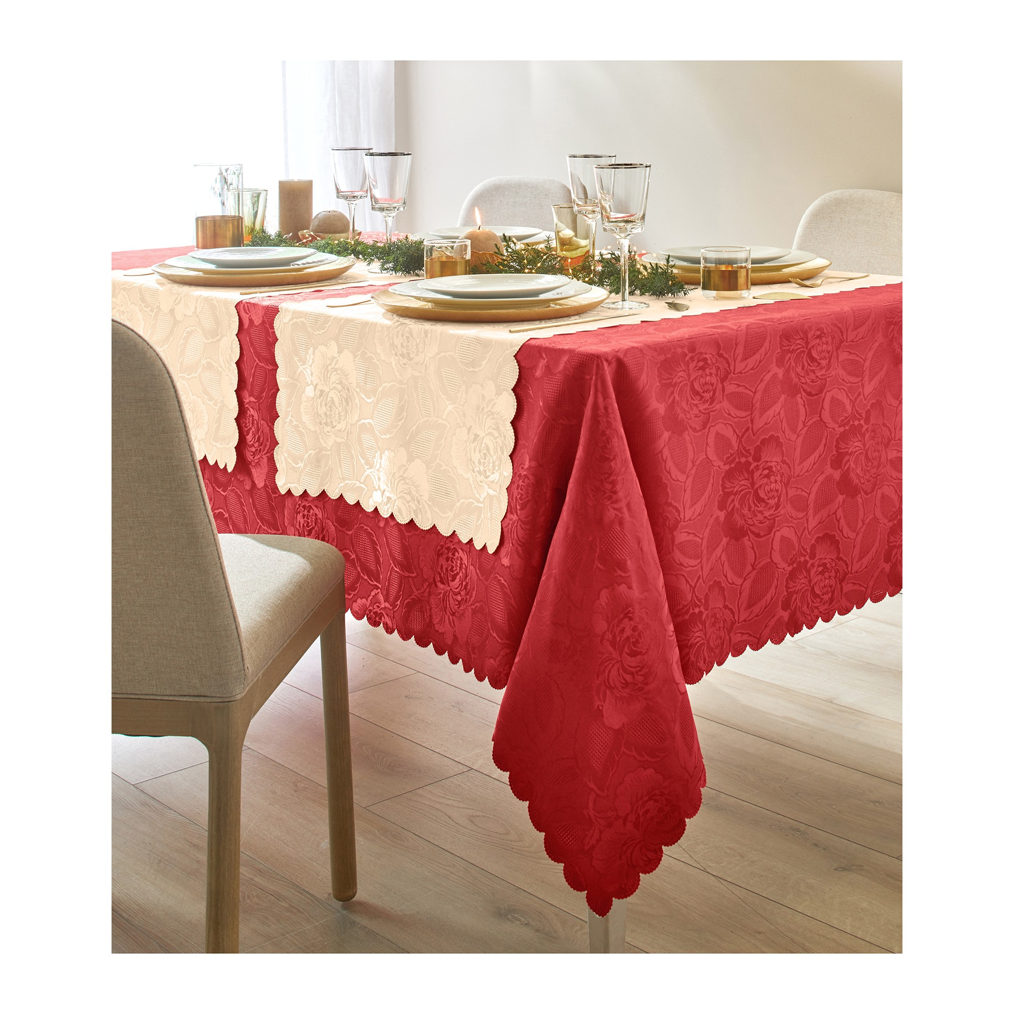 Nappe jacquard damass blancheporte - Nappe rectangulaire grande taille ...