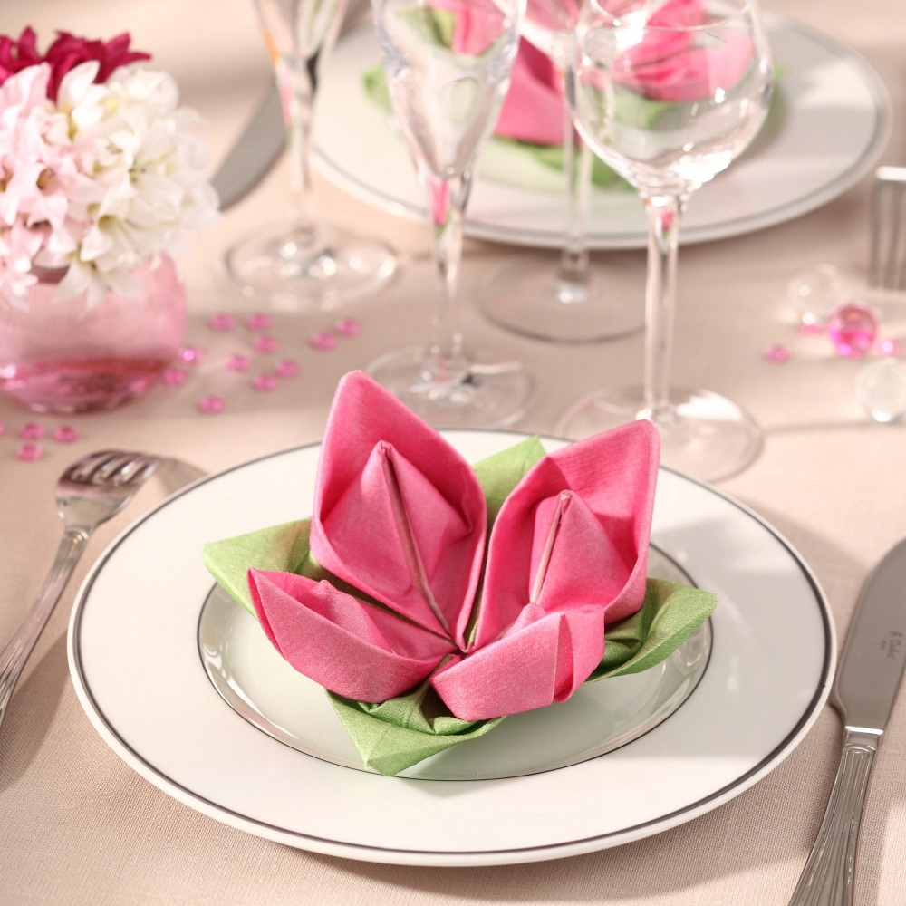 Napkins folded as a Rose  Table Settings  Pinterest  Napkins and