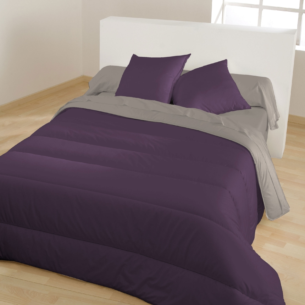 couette bicolore microfibre violet gris blancheporte. Black Bedroom Furniture Sets. Home Design Ideas