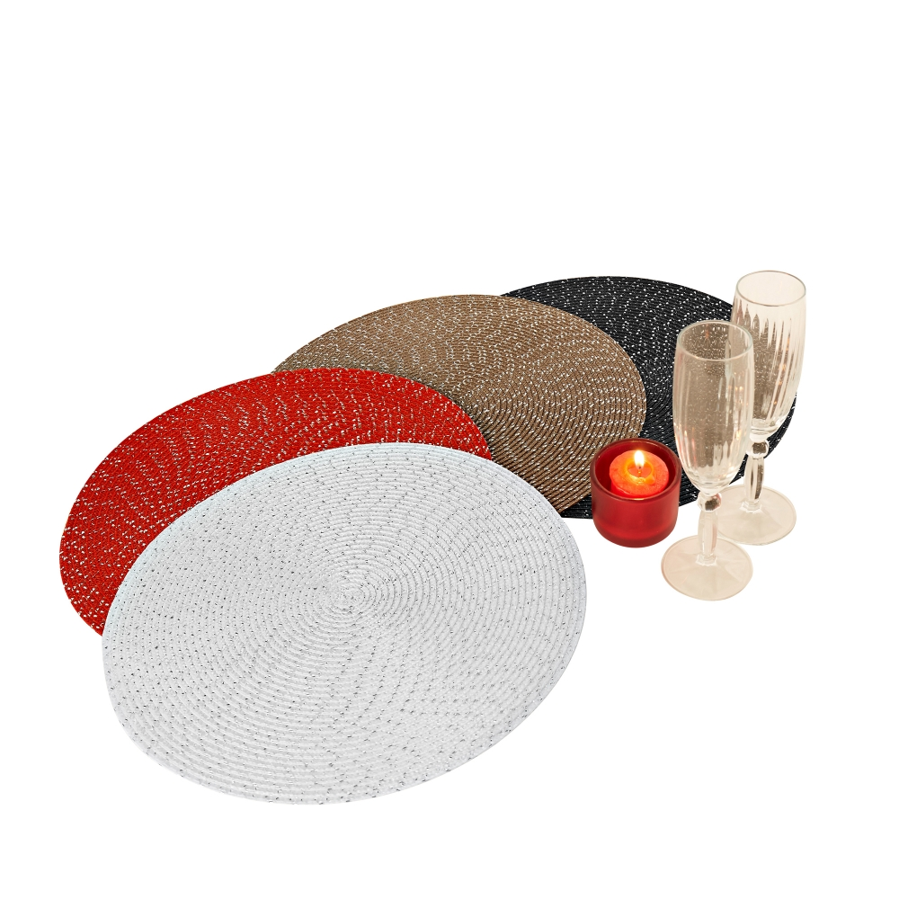 Set de table rond festif lot de 4 blancheporte for Set de table rouge rond