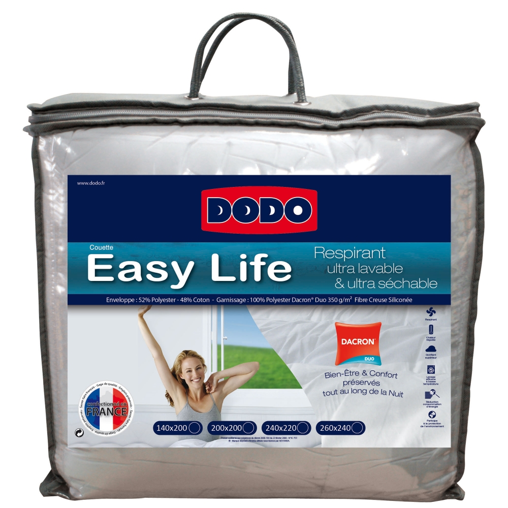 Couette synth tique dodo easy life 350g m2 blancheporte for Dodo linge de maison