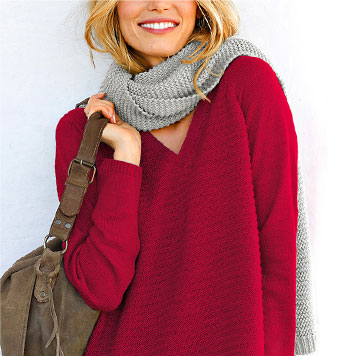 Pull Col V Coloris Rouge