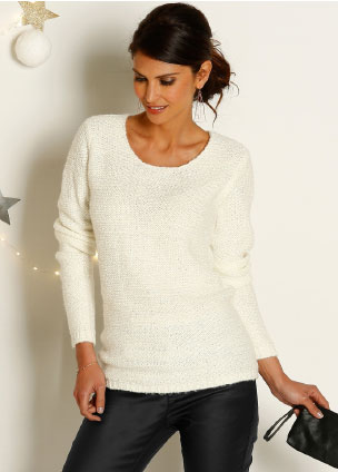 Pull manches longues paillettes