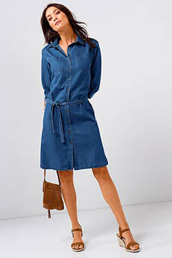 Robe chemisier denim & sandales