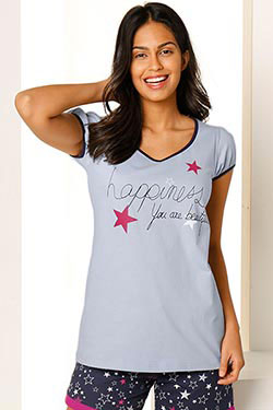 Pyjama : tee-shirt happiness & short étoiles