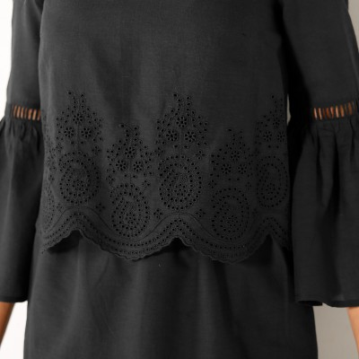 Robe broderie anglaise manches 3/4  : Vue zoom matière