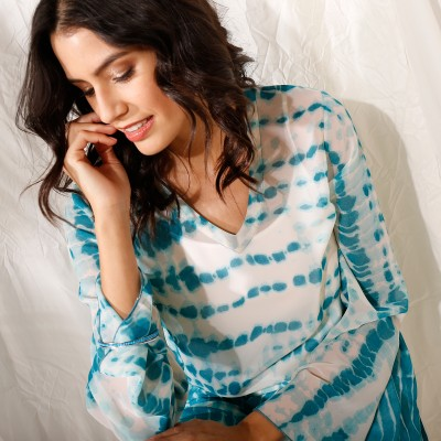 """Blouse ample col V voile effet """"tie and dye""""  : Vue zoom matière"""