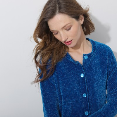 Cardigan maille chenille  : Vue zoom matière
