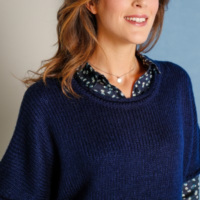 Pull poncho manches coudes  : Vue zoom matière