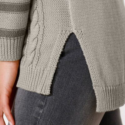Pull col rond rayures torsades  : Vue zoom matière