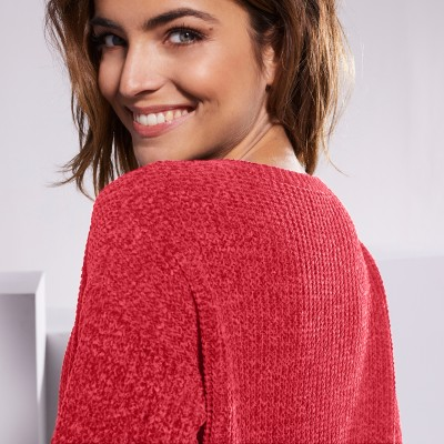 Pull col rond maille chenille  : Vue zoom matière