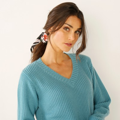 Pull col V maille anglaise  : Vue zoom matière