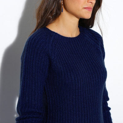 Pull col rond maille anglaise  : Vue zoom matière
