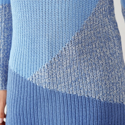 Pull patchwork col rond  : Vue zoom matière