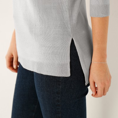 Pull col rond  : Vue zoom matière