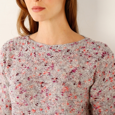 Pull chiné col rond  : Vue zoom matière