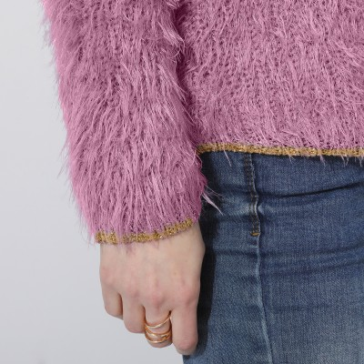 Pull col rond maille perlée  : Vue zoom matière