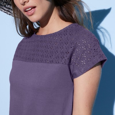 Tee-shirt broderie anglaise manches courtes  : Vue zoom matière