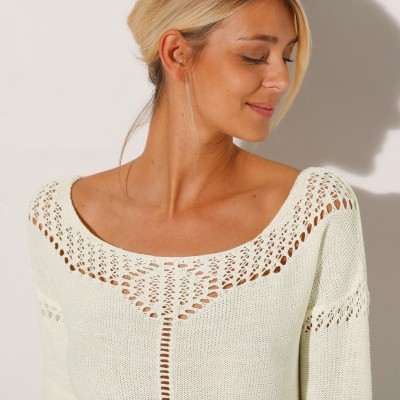 Pull col rond maille fantaisie  : Vue zoom matière