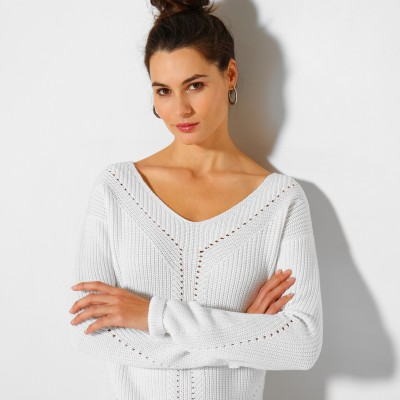 Pull col V maille fantaisie  : Vue zoom matière