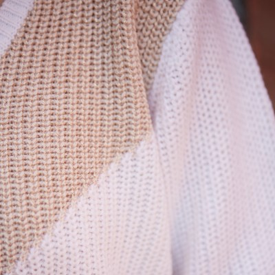 Pull patchwork maille anglaise  : Vue zoom matière