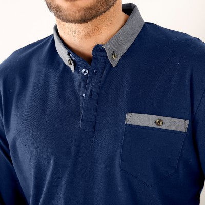 Polo manches longues jersey col chambray  : Vue zoom matière