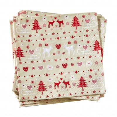 Serviettes papier motif cottage - lot de 20
