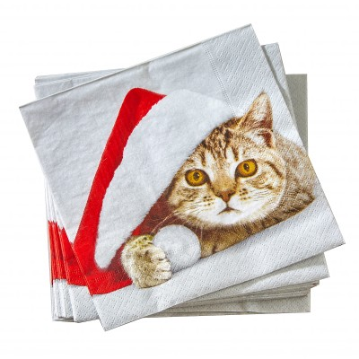Serviettes papier imprimé chat - lot de 20