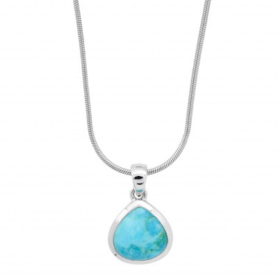 Collier argent turquoise