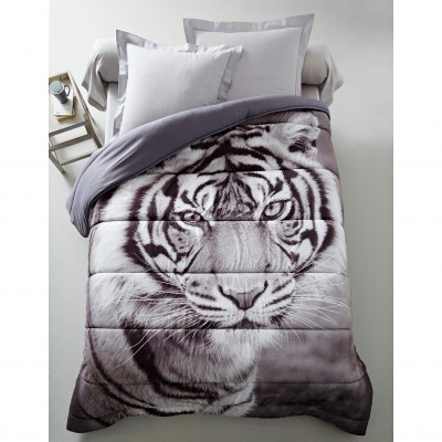 Couette microfibre impression photo tigre 400g/m2