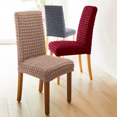 Housse chaise dossier + assise  bi-extensible smockée - lot de 2
