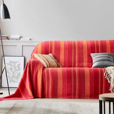 Plaid ou jeté tissé multicolore