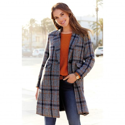 Manteau mi-long à carreaux