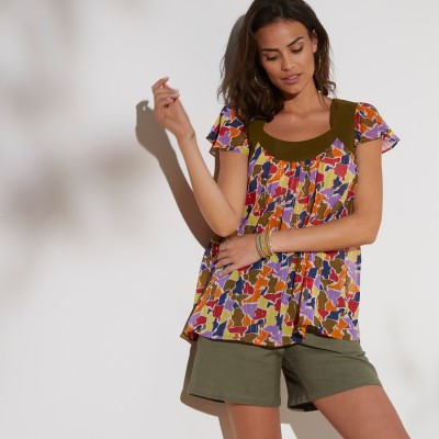 "Blouse multicolore manches ""papillon"""