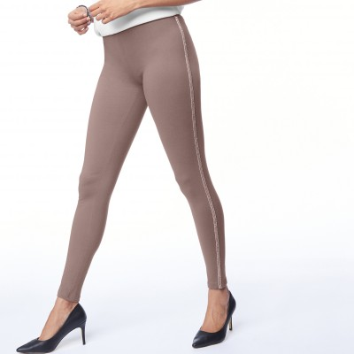 Legging uni bande brillante