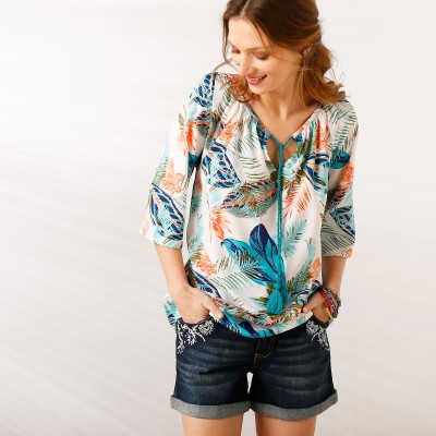 Blouse imprimé tropical