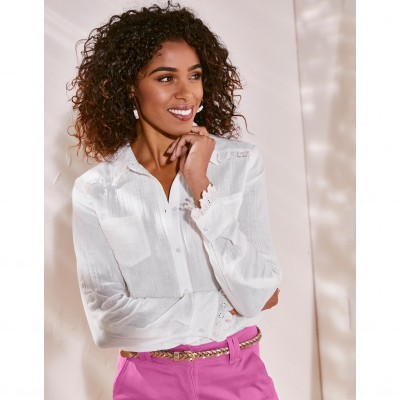 Blouse manches 3/4 broderie anglaise