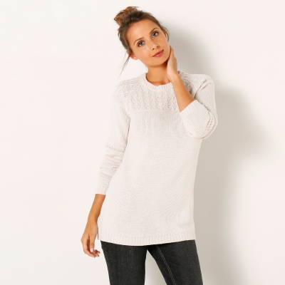 Pull col rond maille fantaisie