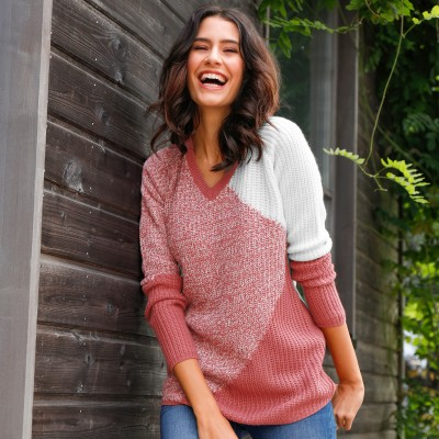 Pull jaquard maille anglaise