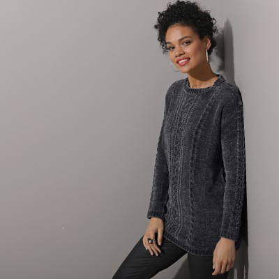 Pull torsades maille chenille