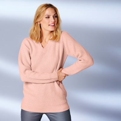 Pull col V en maille anglaise