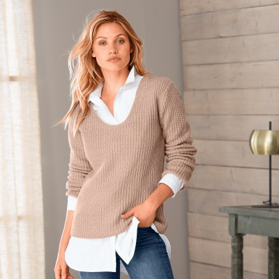 Pull maille anglaise brillante