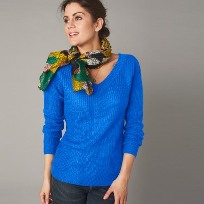 Pull col V forme loose maille anglaise