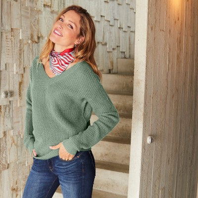 Pull V forme loose maille anglaise