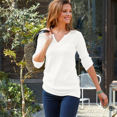 Pull manches longues, haut maille pointelle