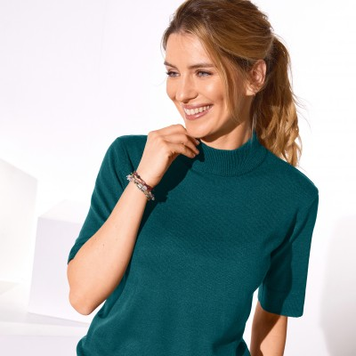 Pull col montant manches courtes toucher cachemire