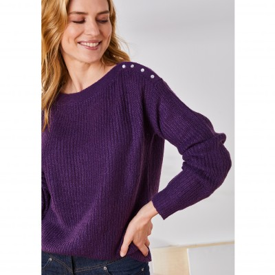 Pull col rond maille anglaise toucher mohair