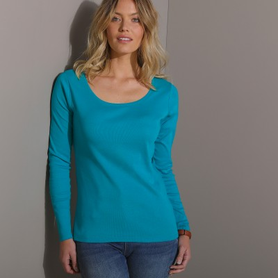 Tee-shirt col rond uni manches longues