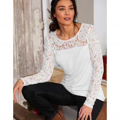Tee-shirt col rond manches longues dentelle jersey