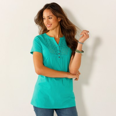 Tee-shirt col tunisien broderie anglaise